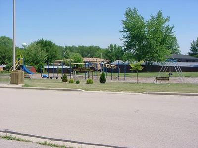 A variety of colorful playground equipment in John Solis Park
